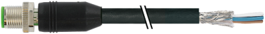 M12 male 0° shielded with cable