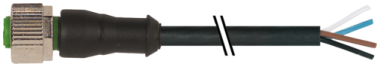 M12 female 0° A-cod. with cable