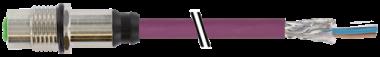 M12 female recept. shielded rear mount DeviceNet