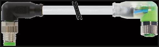 M8 male 90° / M8 female 90° LED