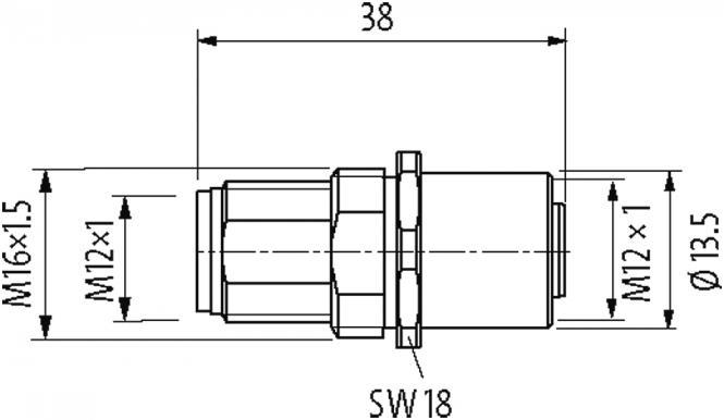 M12-PANEL FEED THROUGH 5POLE A-COD